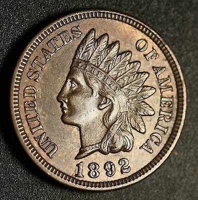 1892 INDIAN HEAD CENT -With LIBERTY & Near 4 DIAMONDS - AU UNC