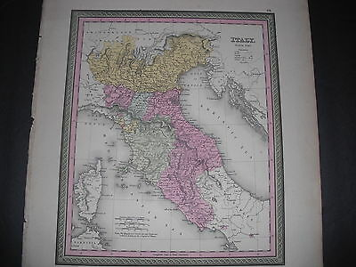 1853 Mitchell Map Of Northern Italy.  Tuscany, Naples, Lombardy, Corsica, Etc.