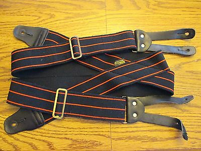 """Works by Welch 2"""" wide black w/ red elastic suspenders black leather button ends"""