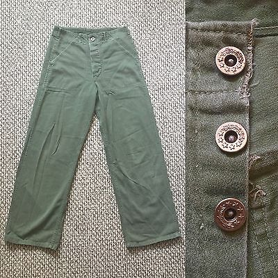 Vintage Vtg 1940s 40s US Army Military 100% Cotton Sateen Pants Rare