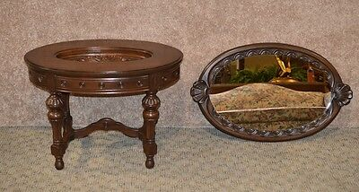 Vintage Carved Walnut Tray Top Table