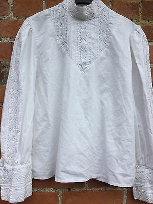 Nightingales Vintage Edwardian Victorian Mistress Governess White Cotton Shirt L