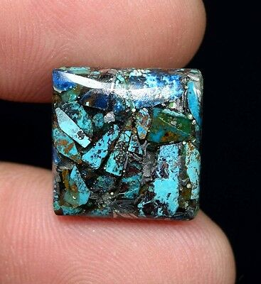 Beautiful ! 9.65 Cts. Natural  Silver  Azurite  Square Cab For Silver Pendant