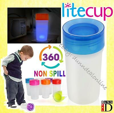 LITECUP 360 No Non Spill Proof Sippy Anyway Up Cup Beakers Nightlight Uber Blue