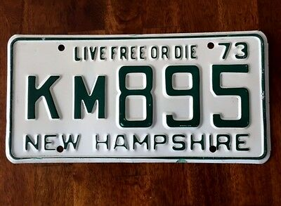 """1973  NEW HAMPSHIRE  """"Live Free or Die"""" license plate"""
