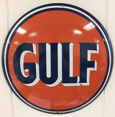 Ande Rooney GULF ROUND Oil and Gas Advertising Button Embossed Tin Garage Sign