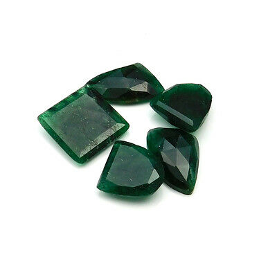 70.15 cts Natural Green Aventurine Fancy Both Side Faceted Gemstone 5 pcs lot