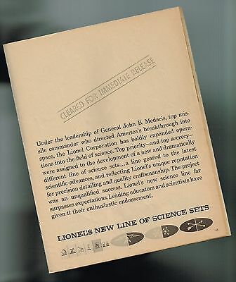 1961 Lionel <SCIENCE play SETS> Catalog excerpt: WEATHER,ELECTRONICS,PLASTIC,