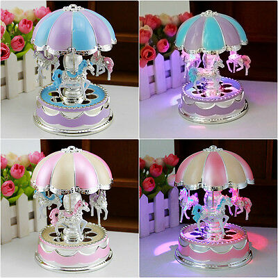 Kids Girl Boy LED Horse Carousel Music Box Toy Clockwork Musical Best Gifts Toy