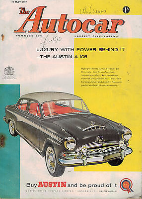 1957 10 May The Autocar Magazine Cover Advert Austin A.105 57666