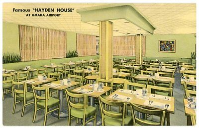 Linen Postcard - Omaha Nebraska, Hayden House Restaurant at Omaha Airport