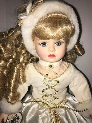 """Victorian Star Collection Porcelain Doll 16"""" Brass Key Beautiful Ice Skating"""