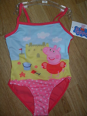 BNWT Girls Peppa Pig Swimsuit Swimming Costume age 5 yrs Pretty Pink / Blue