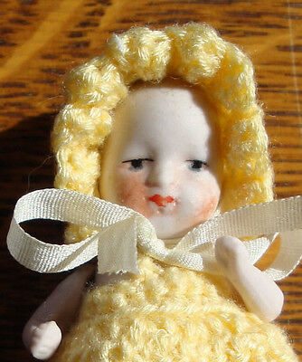 "Antique  All Bisque Baby Doll Made In Germany 2 1/2"" Marked ""661 Germany 6"""
