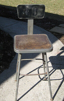 Vintage Industrial Factory Shop Adjustable Metal Drafting Chair Stool Steampunk