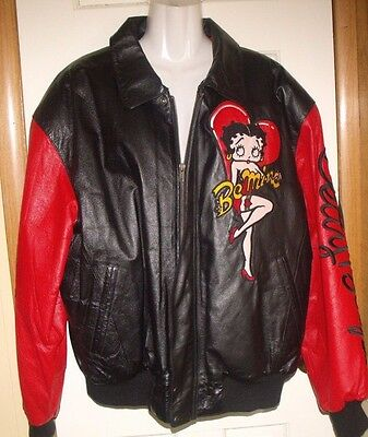 Vintage Betty Boop Leather Jacket - Size Large - 50% Off - A Deal!!