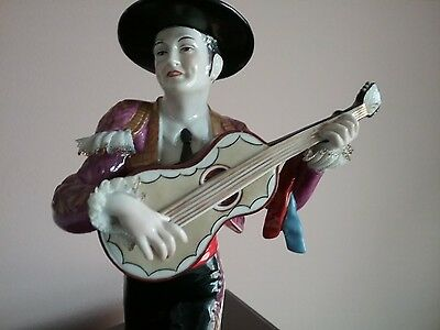 Vintage Larger Dresden West Germany Porcelain Figurine Man Guitar Gaucho