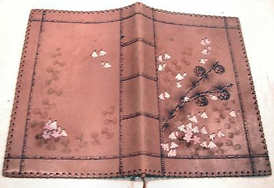 "Small vintage silk lined leather folder or cover for notepad 5"" x 8"" or similar"