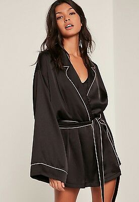 Missguided Silk Kimono Robe Size 6 Black Pink Trim BNWT SOLD OUT ONLINE!