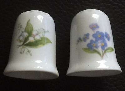 Pair Of Collectable Bone China Thimbles with Flowers