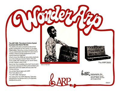 Stevie Wonder *LARGE POSTER* Arp 2600 Synth Promo ad Synthesizer moog 70's Funk