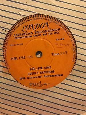 The Everly Brothers Bye Bye Love Rare 1 Sided London Demo 45