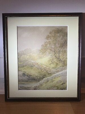Lovely Vintage 1930's Watercolour Painting Of Landscape In Frame