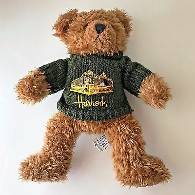 "Harrods Knightsbridge Teddy Bear Green Sweater 12"" London Stuffed Plush Toy"