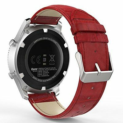 Samsung Gear S3 Watch Band Premium Soft Genuine Leather Replacement Red Strap
