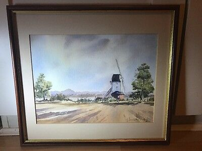 Lovely Signed Vintage Watercolour Painting Of Windmill In LandscapeIn Wood Frame