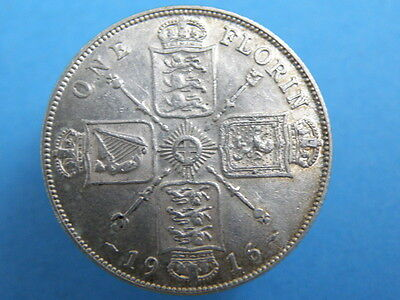 1916 King George V SILVER FLORIN TWO SHILLING COIN