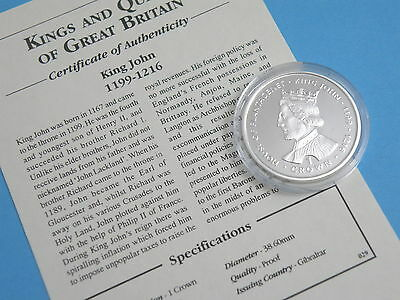 GIBRALTAR - 1999 SILVER PROOF ONE CROWN COIN - Kings & Queens - KING JOHN