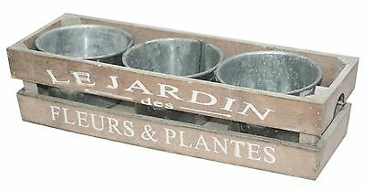 Shabby Chic Set of 3 Metal Plant Pots Planters Crate Wooden Herb Trough Flowers