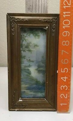 1800s Antique Victorian Small Scenery Brook Purple Floral Picture In Wood Frame