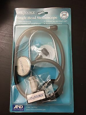 Life Source Single Head Stethoscope Black New A&D Medical
