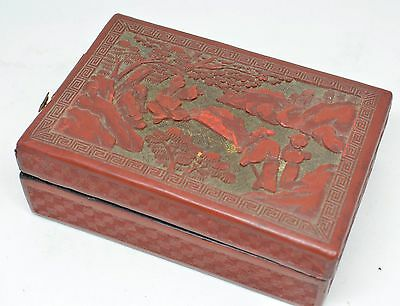 Antique Chinese Cinnabar Carved Box Black Lacquer