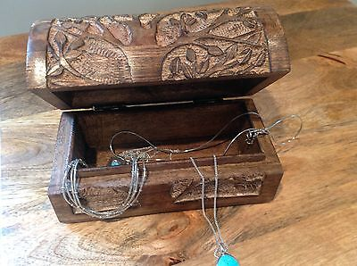 Carved Wooden 'Tree Of Life' Jewellery/ Trinket/ Pencil Hinged Box 15cm