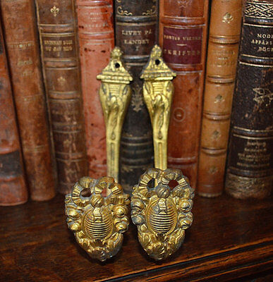Antique Pair of French Bronze Ormolu Drapery Hooks Tie Back Brackets