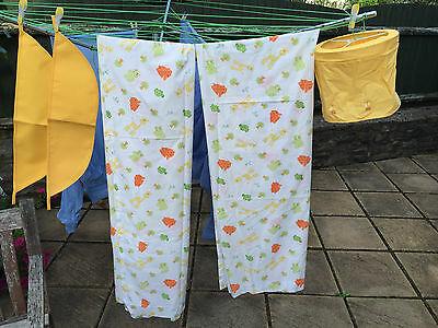 Pair of Curtains Childs Nursery - Baby Giraffe theme with Tie Backs/Lightshade