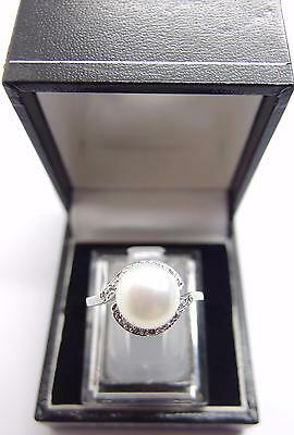 925 Sterling Silver White Freshwater Cultured Pearl Ring Size P UK 7.5 US #H