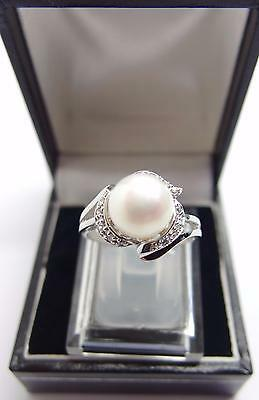 925 Sterling Silver White Freshwater Cultured Pearl Ring Size O UK 7 US #F