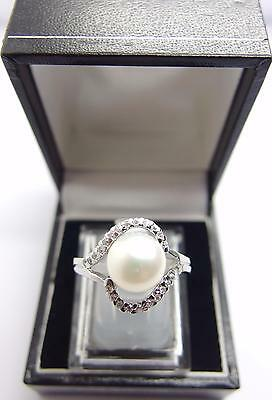 925 Sterling Silver ring Freshwater Cultured Pearl Ring Size P UK 7.5 US #J