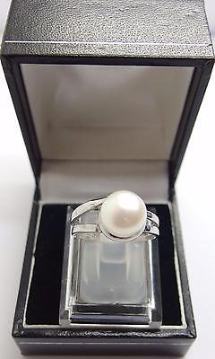 925 Sterling Silver ring White Freshwater Cultured Pearl Ring Size O UK 7 US #K