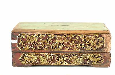 Antique Chinese Red Gilt Wooden Carving Altar Box / Stand w Dragon, 19th c