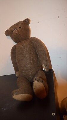 Vintage Stuffed Jointed TEDDY BEAR Glass Eyes Squeaker ,mohair,14 inches,growler