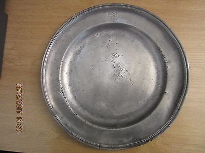 French Pewter Plate 12.5 inch dia, c. 1790