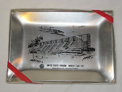 Vintage United States World's Fair 1982 metal tray historic collectible metal