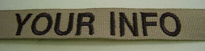 CUSTOM DESERT EMBROIDERED NAME TAPE VARIOUS COLOR LETTERS Velcro® Option