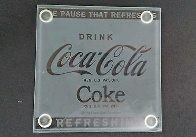 "Coca-Cola ""REFRESHING"" Glass Coasters (Set of 4) - BRAND NEW"