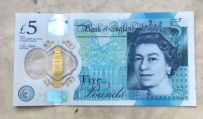 FIVE POUND £5 NOTE UK BANK OF ENGLAND POLYMER RARE NEW For sale Serial. AK47 004
